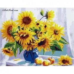 Картина по номера -Букет слънчогледи до  прозореца