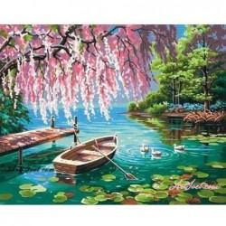 Картина по номера -Пролет край езерото с водните лилии