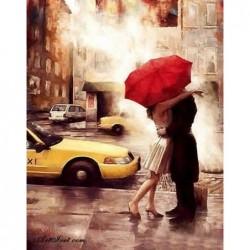 Картина по номера -Романтика пред жълтото такси