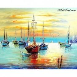 Картина по номера -Красив залез на пристанището