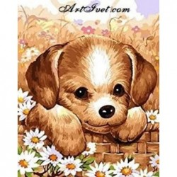 Картина по номера -Сладко кученце