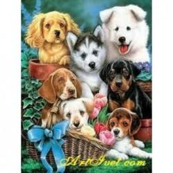 Картина по номера -Кучешко семейство