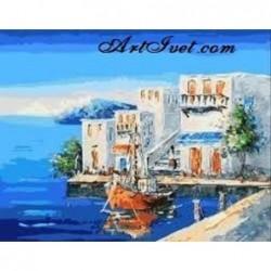 Картина по номера -Морски изглед от Гърция
