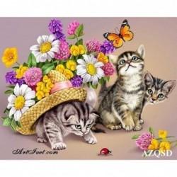 Картина по номера -Цветя и котенца