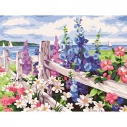 Картина за рисуване по номера - Цветя на оградата