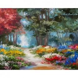 Картина за рисуване по номера - Цветната поляна до гората
