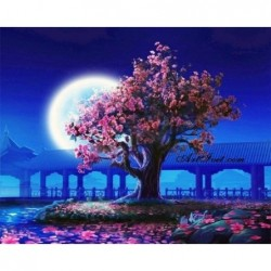 Картина за рисуване по номера - Луната и цъфналата вишна
