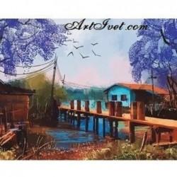 Картина за рисуване по номера - Малкото дървено мостче