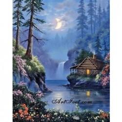 Картина за рисуване по номера - Лунна нощ край реката
