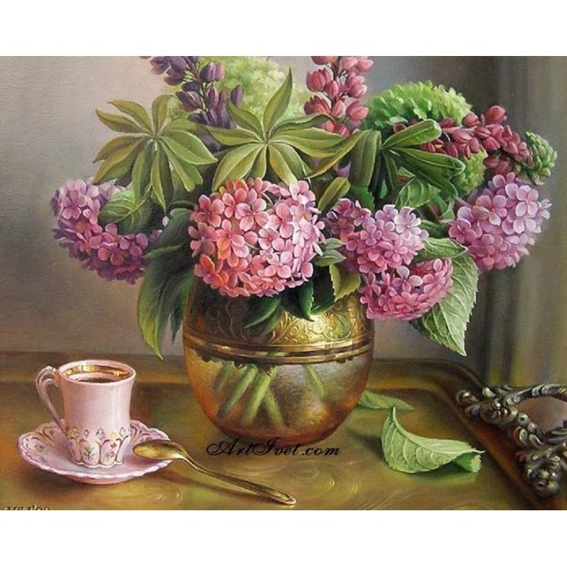 Картина за рисуване по номера - Сутрещно кафе със силен аромат