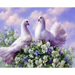 Картина за рисуване по номера - Два бели гълъба
