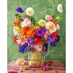 Картина за рисуване по номера - Експлозия от пъстри цветя