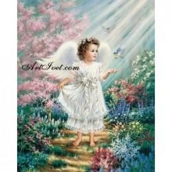 Картина за рисуване по номера - Ангелче в бяло  сияние
