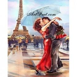 Картина за рисуване по номера - Любов в Париж