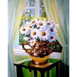 Картина за рисуване по номера - Маргарити до прозореца