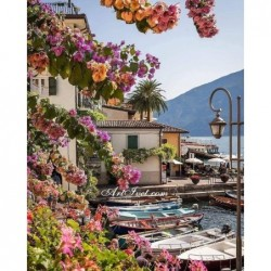 Картина за рисуване по номера - Лодки и цветя от Тенерифе