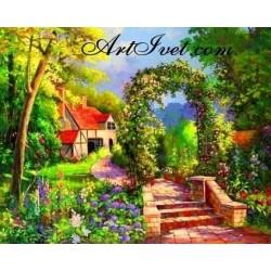 Картина за рисуване по номера - Къща със зелена арка