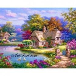 Картина за рисуване по номера - Вълшебството на синьото езеро