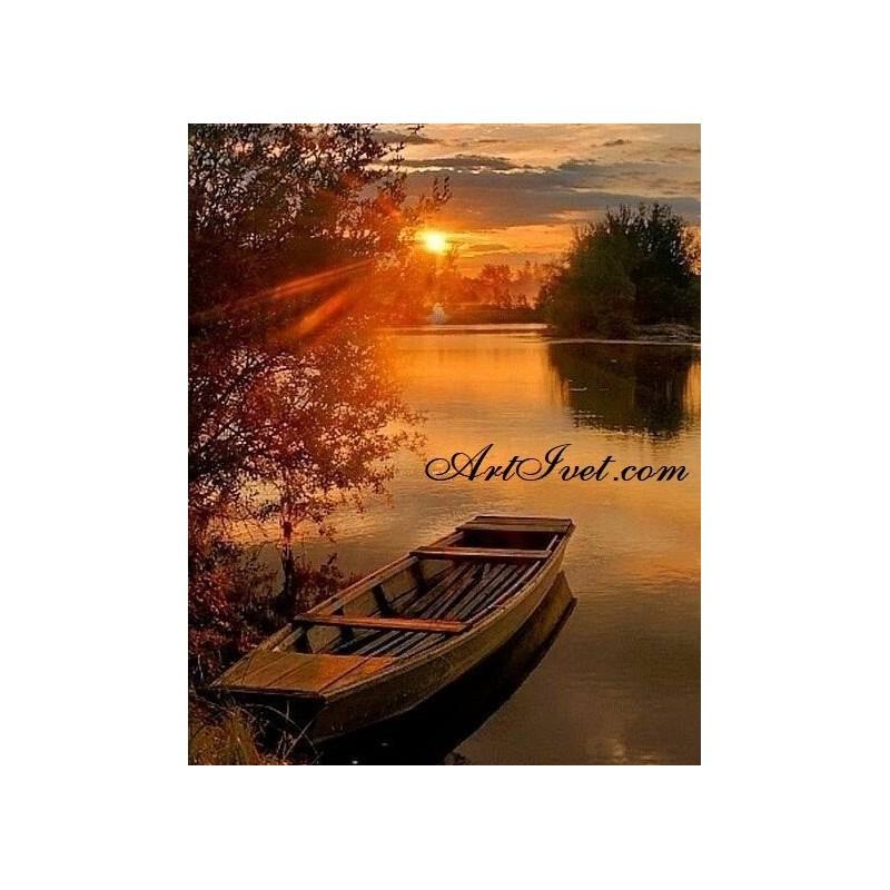 Картина за рисуване по номера - Залез край лодката