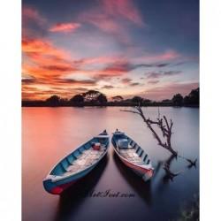 Картина за рисуване по номера - Лодки и розови облаци