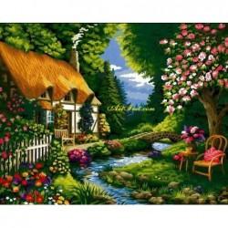 Картина за рисуване по номера - Рекичката до моята къща