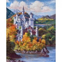 Картина за рисуване по номера -  Замък край планинското езеро