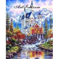 Картина за рисуване по номера - Замък край сините планини