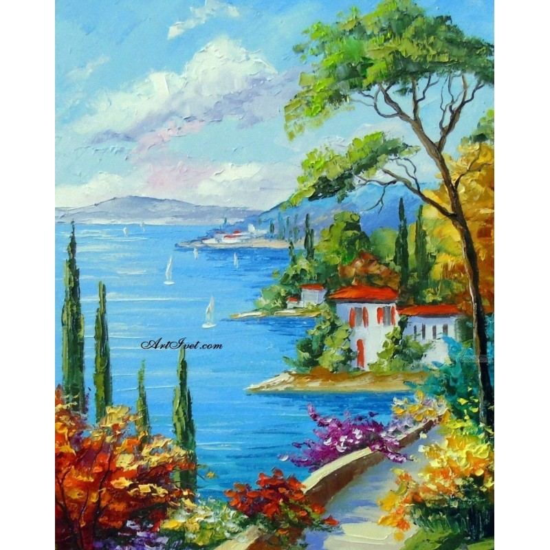 Картина за рисуване по номера - Слънчев плаж до морето