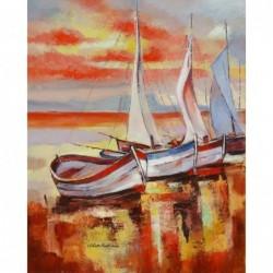 Картина за рисуване по номера - Залез на пристана  за  лодки