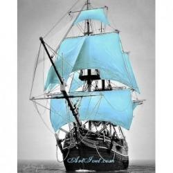 Картина за рисуване по номера - Попътен вятър на кораба със  сини  платнаи