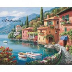 Картина за рисуване по номера - Италианско селце до езерото