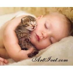 Картина по номера - Заспали бебенца