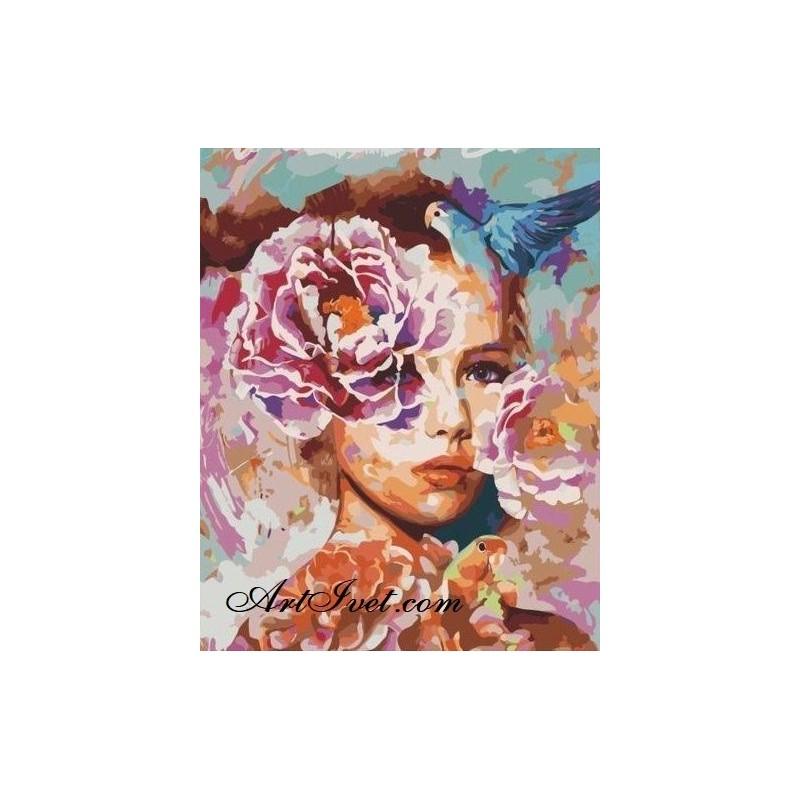 Картина по номера - Fata cu florileа