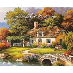 Картина по номера - По мостчето през реката