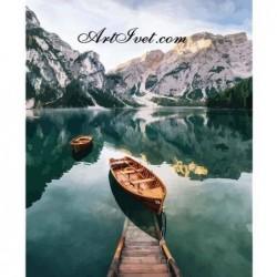 Картина по номера - Лодки в алпийското езеро