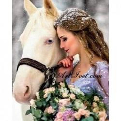 Картина по номера - Снежната принцеса и белият кон