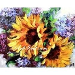 Картина по номера - Букет със  слънчогледи за добро настроение