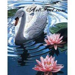 Картина по номера - Лебедът и водните лилии