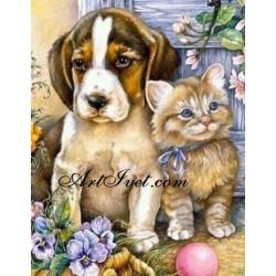 Картина по номера -Коте и куче приятели
