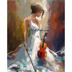 Картина по номера - Цигуларката - красива магьосница на музиката