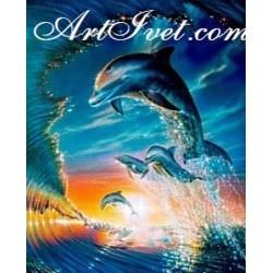 Картина по номера - Делфин сред морската шир