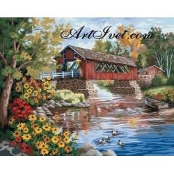 Картина по номера - Сеновал до реката