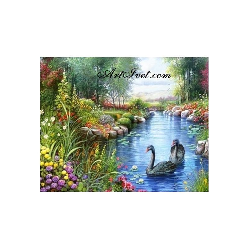 Картина по номера - Черни лебеди в приказно езеро