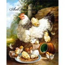 Картина по номера - Кокошка и пиленца