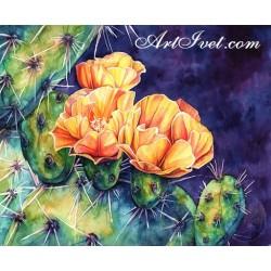 Картина по номера - Оранжевите цветове на кактуса