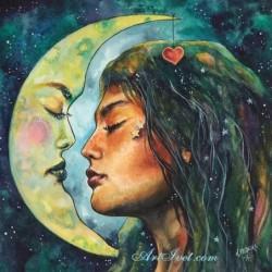 Картина по номера -Луната и лунното момиче