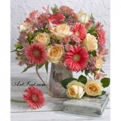 Картина по номера -Нежни гербери и рози а