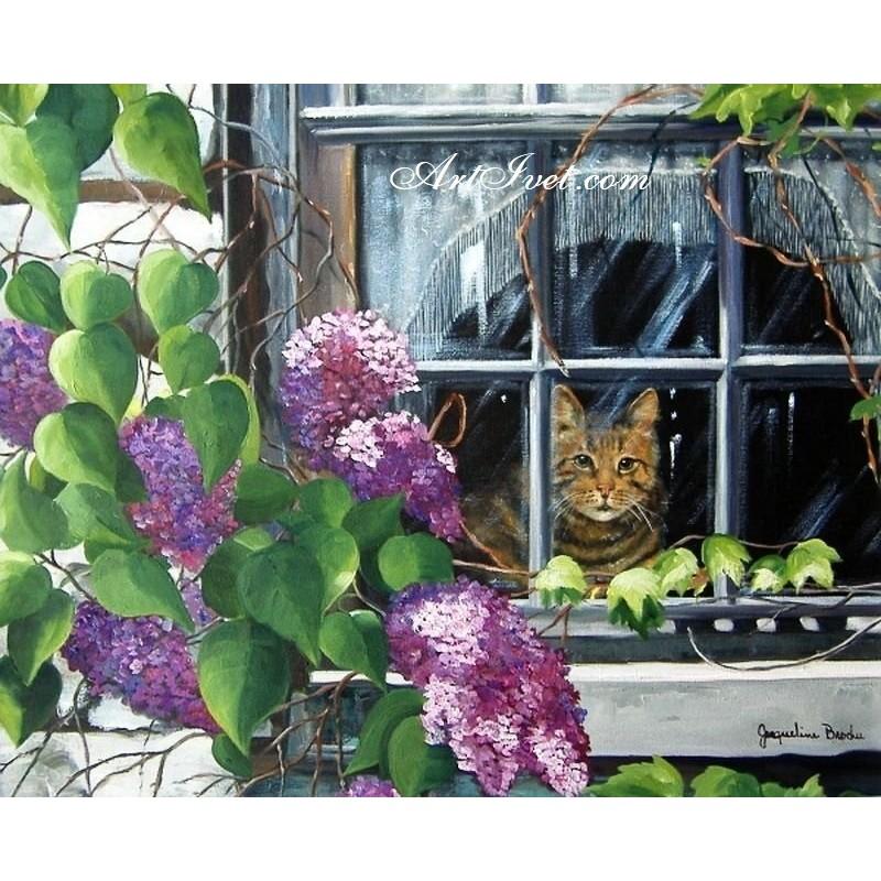 Картина по номера - Котето на прозореца