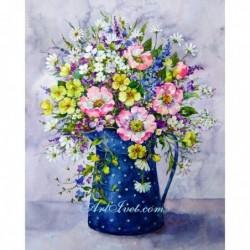 Картина по номера - Синя кана на бели точки и пролетно настроение