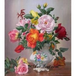 Картина по номера - Букет от рози за красивата дама